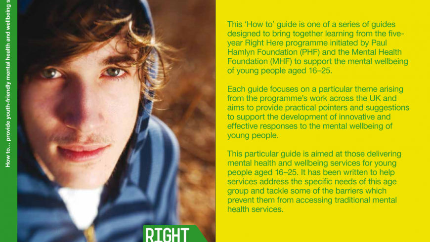 Right Here - How to provide youth-friendly mental health and wellbeing services Cover